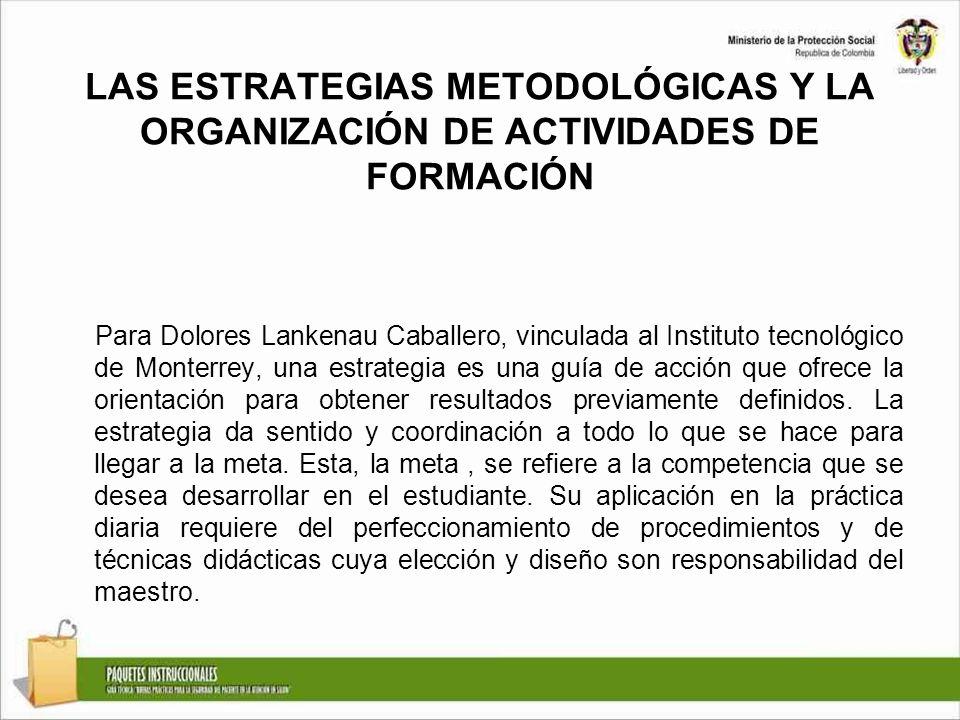 LAS ESTRATEGIAS METODOLÓGICAS Y LA ORGANIZACIÓN DE ACTIVIDADES DE FORMACIÓN Para Dolores Lankenau Caballero, vinculada al Instituto tecnológico de Mon