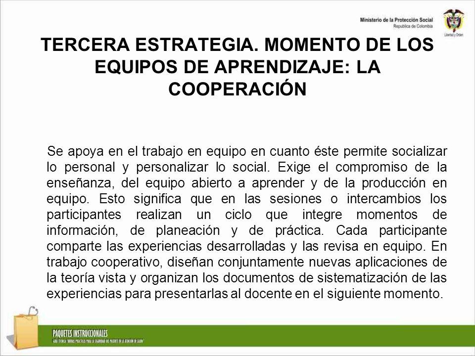 TERCERA ESTRATEGIA. MOMENTO DE LOS EQUIPOS DE APRENDIZAJE: LA COOPERACIÓN Se apoya en el trabajo en equipo en cuanto éste permite socializar lo person