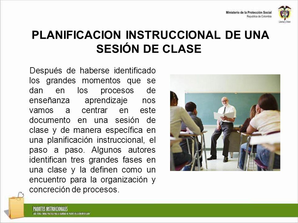 PLANIFICACION INSTRUCCIONAL DE UNA SESIÓN DE CLASE Después de haberse identificado los grandes momentos que se dan en los procesos de enseñanza aprend