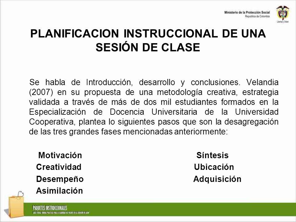 PLANIFICACION INSTRUCCIONAL DE UNA SESIÓN DE CLASE Se habla de Introducción, desarrollo y conclusiones. Velandia (2007) en su propuesta de una metodol