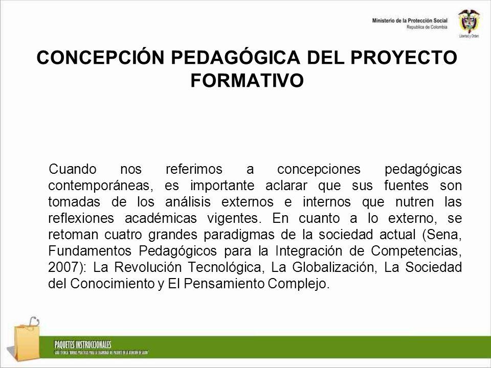 CONCEPCIÓN PEDAGÓGICA DEL PROYECTO FORMATIVO Cuando nos referimos a concepciones pedagógicas contemporáneas, es importante aclarar que sus fuentes son