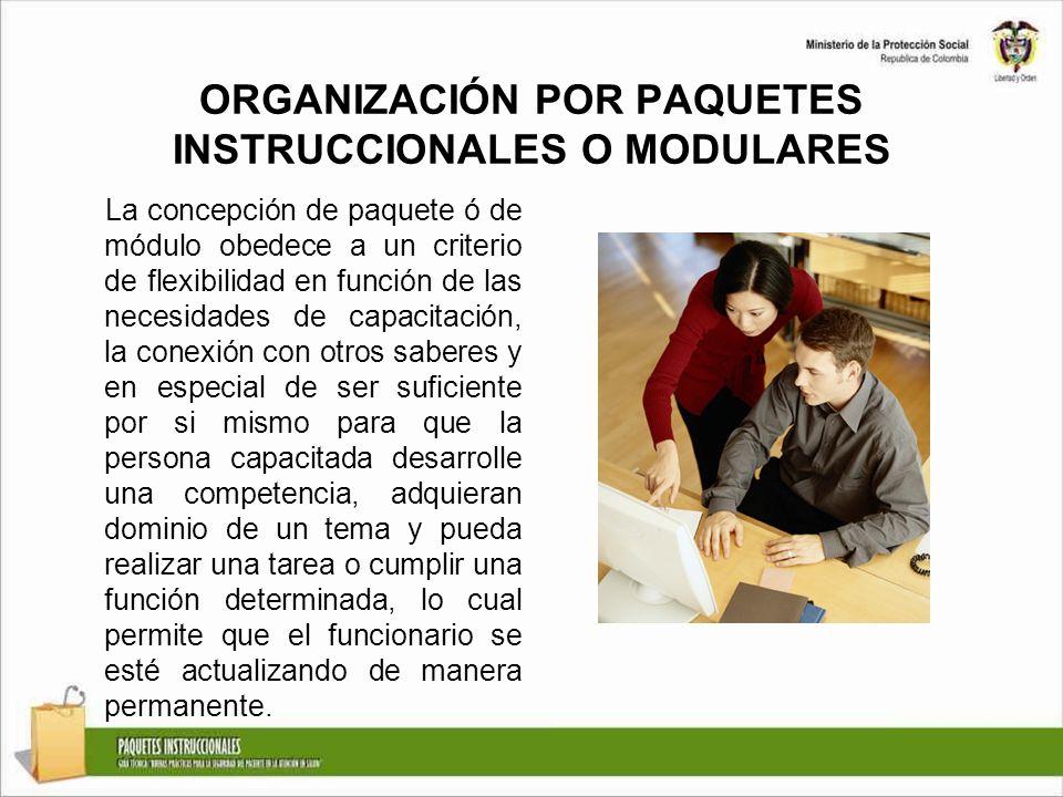 ORGANIZACIÓN POR PAQUETES INSTRUCCIONALES O MODULARES La concepción de paquete ó de módulo obedece a un criterio de flexibilidad en función de las nec