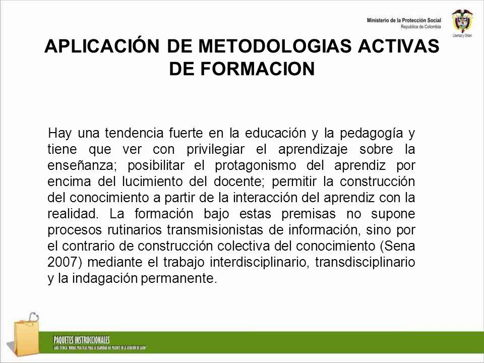 APLICACIÓN DE METODOLOGIAS ACTIVAS DE FORMACION Hay una tendencia fuerte en la educación y la pedagogía y tiene que ver con privilegiar el aprendizaje