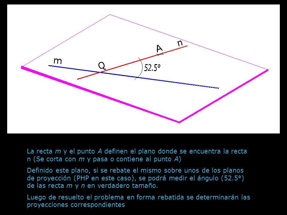 La recta m y el punto A definen el plano donde se encuentra la recta n (Se corta con m y pasa o contiene al punto A) Definido este plano, si se rebate
