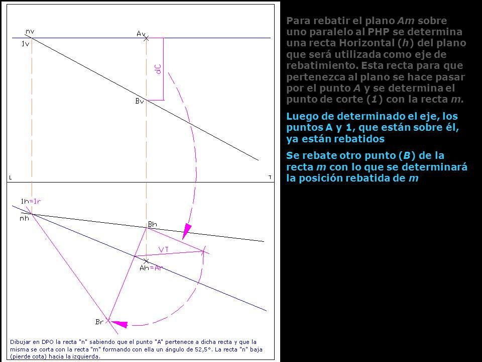 Luego de determinado el eje, los puntos A y 1, que están sobre él, ya están rebatidos Se rebate otro punto (B) de la recta m con lo que se determinará