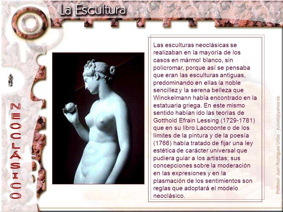 Las esculturas neoclásicas se realizaban en la mayoría de los casos en mármol blanco, sin policromar, porque así se pensaba que eran las esculturas an