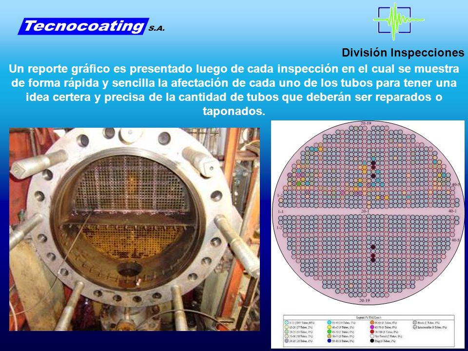 División Inspecciones Un reporte gráfico es presentado luego de cada inspección en el cual se muestra de forma rápida y sencilla la afectación de cada