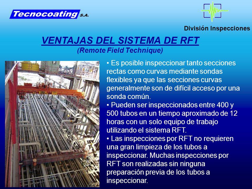 División Inspecciones VENTAJAS DEL SISTEMA DE RFT (Remote Field Technique) Es posible inspeccionar tanto secciones rectas como curvas mediante sondas