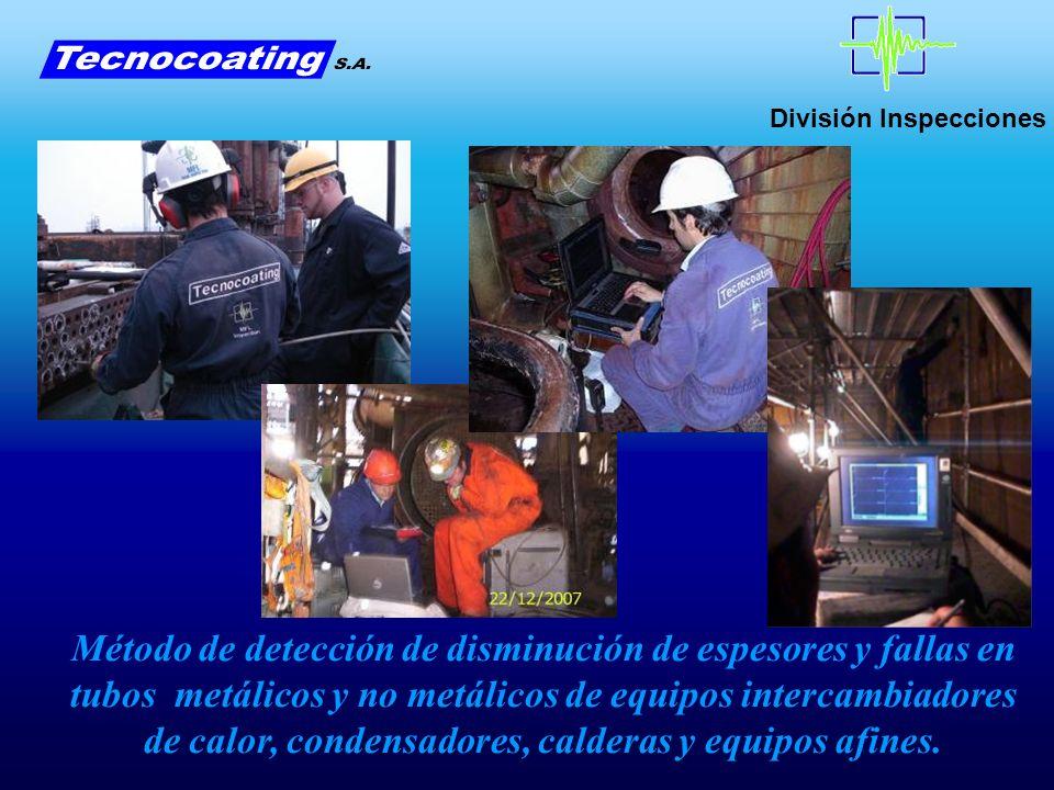 División Inspecciones Sistemas de inspección de tubos por RFET (Remote Field Electromagnetic Technique) Para Tubos Ferromagnéticos HSECT (High Speed Eddy Current Technique) Para Tubos No Ferromagnéticos IRIS (Internal Rotary Inspection System) Para Tubos Ferromagnéticos y No Ferromagnéticos