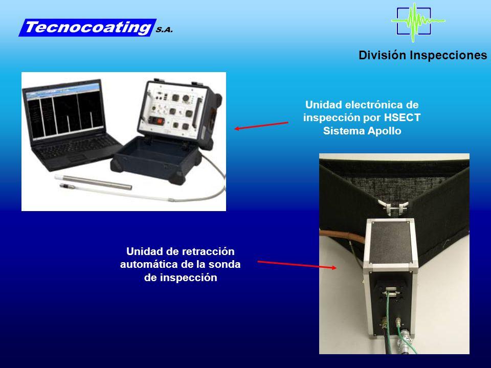 División Inspecciones Unidad electrónica de inspección por HSECT Sistema Apollo Unidad de retracción automática de la sonda de inspección