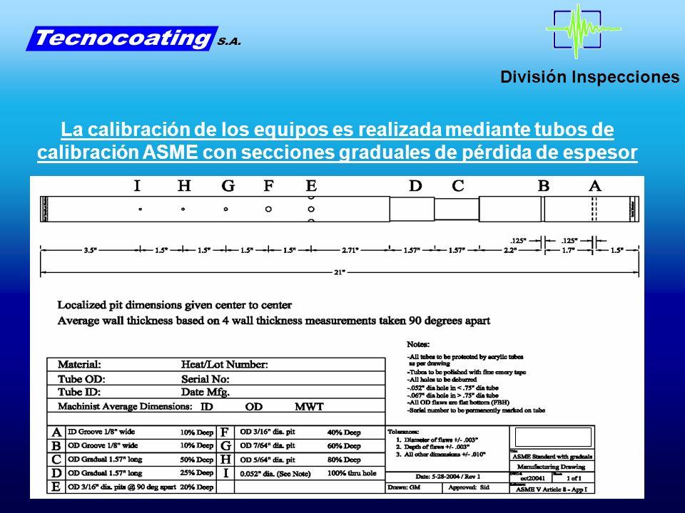 División Inspecciones La calibración de los equipos es realizada mediante tubos de calibración ASME con secciones graduales de pérdida de espesor