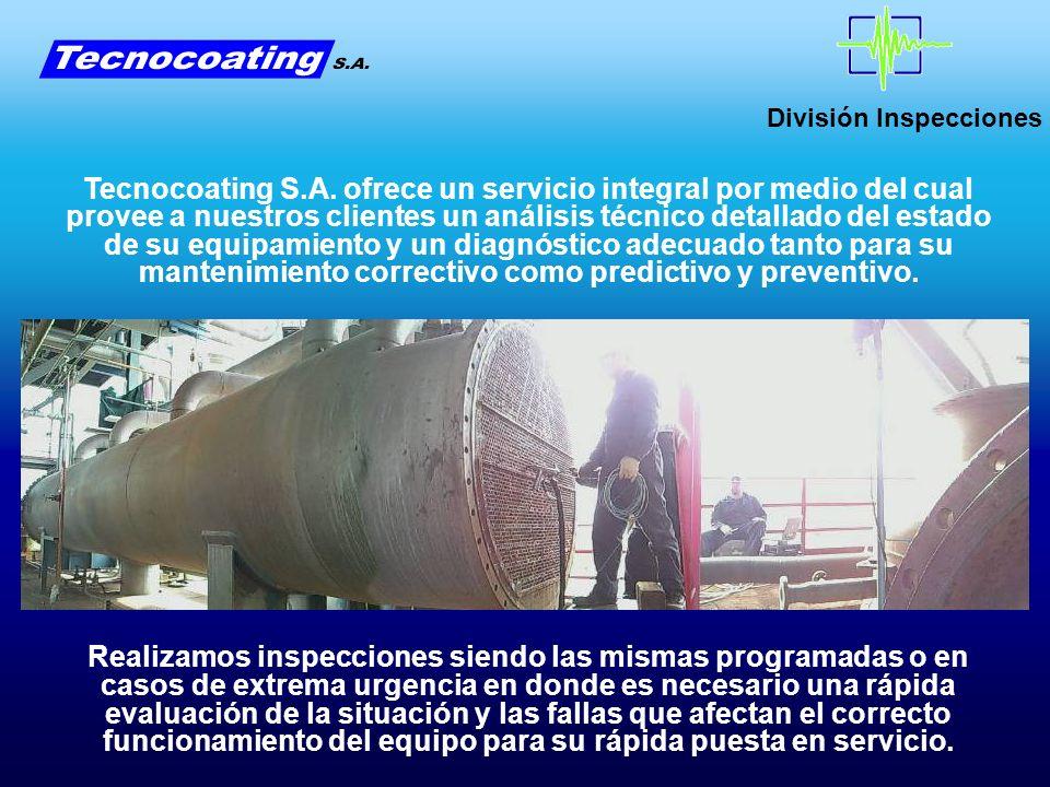 División Inspecciones Para las paredes de tubos de calderas se ha desarrollado un equipamiento que permite inspeccionar los mismos desde el exterior sin necesidad de costosos andamiajes que retrasan los tiempos de parada y de inspección.