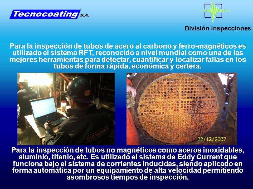 División Inspecciones Así mismo, junto con el reporte gráfico es entregado un listado de todos lo tubos con las fallas detectadas en cada uno de ellos, los espesores hallados y la localización de las fallas.