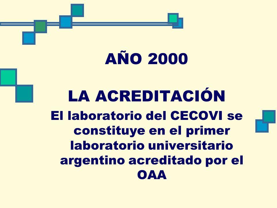 AÑO 2000 LA ACREDITACIÓN El laboratorio del CECOVI se constituye en el primer laboratorio universitario argentino acreditado por el OAA