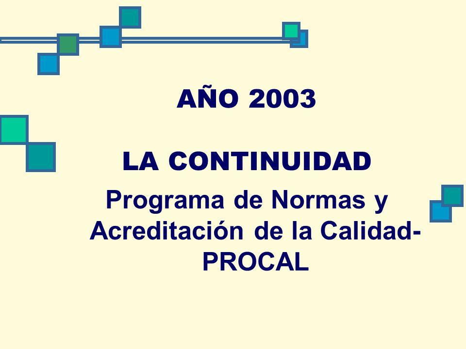 AÑO 2003 LA CONTINUIDAD Programa de Normas y Acreditación de la Calidad- PROCAL