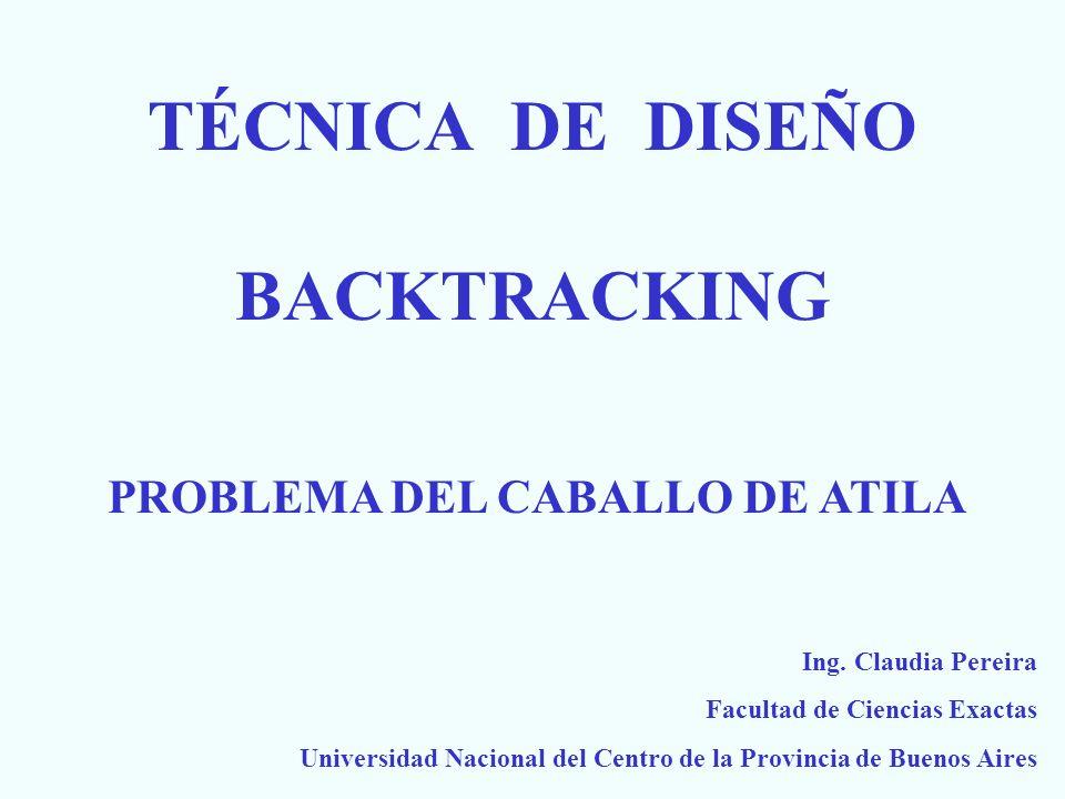 Backtracking: Introducción La solución puede expresarse como una n-tupla (x 1,x 2,...x n ) donde los x i pertenecen a un cierto dominio.
