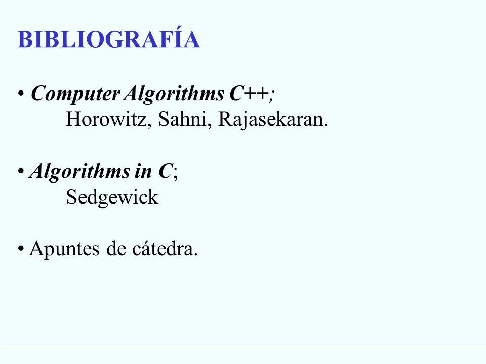 Computer Algorithms C++; Horowitz, Sahni, Rajasekaran. Algorithms in C; Sedgewick Apuntes de cátedra. BIBLIOGRAFÍA
