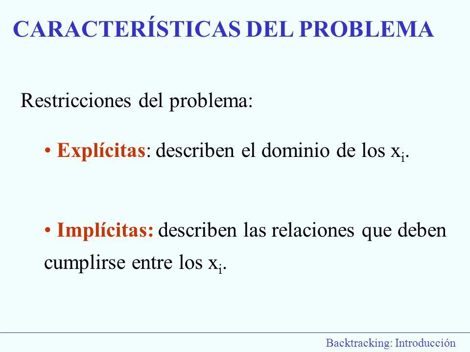 Restricciones del problema: Explícitas: describen el dominio de los x i. Implícitas: describen las relaciones que deben cumplirse entre los x i. CARAC