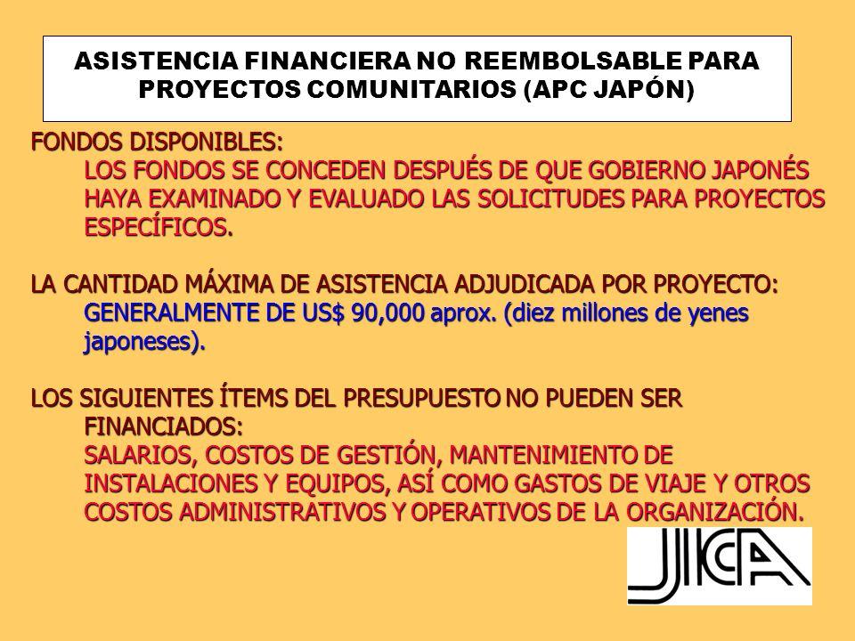 ASISTENCIA FINANCIERA NO REEMBOLSABLE PARA PROYECTOS COMUNITARIOS (APC JAPÓN) ORGANIZACIONES ELEGIBLESELEGIBLESORG ANIZACIOS ELEGIBLES TODA ORGANIZACIÓN SIN ÁNIMO DE LUCRO PUEDE SER BENEFICIARIA DE APC, SIEMPRE Y CUANDO SEA LA ENCARGADA DE EJECUTAR PROYECTOS A NIVEL COMUNITARIO.