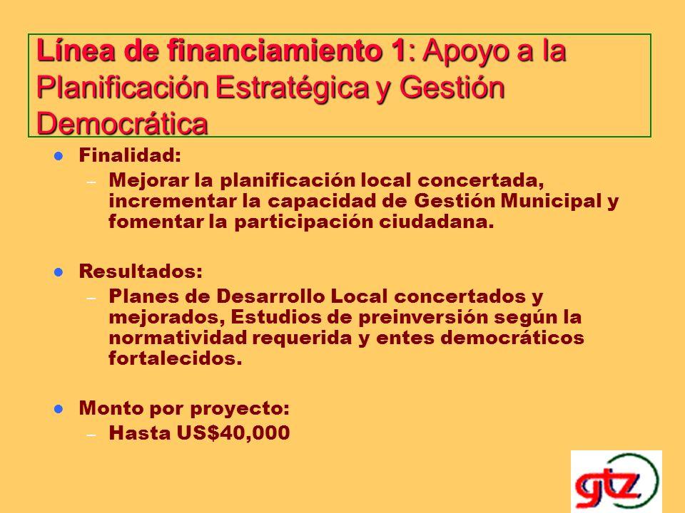 ESTRATEGIAS DEL FCPA El FCPA financia pequeños proyectos, para lo cual dispone de tres líneas de financiamiento (una para cada objetivo específico) – Línea de financiamiento 1: Apoyo a la Planificación Estratégica y Gestión Democrática.