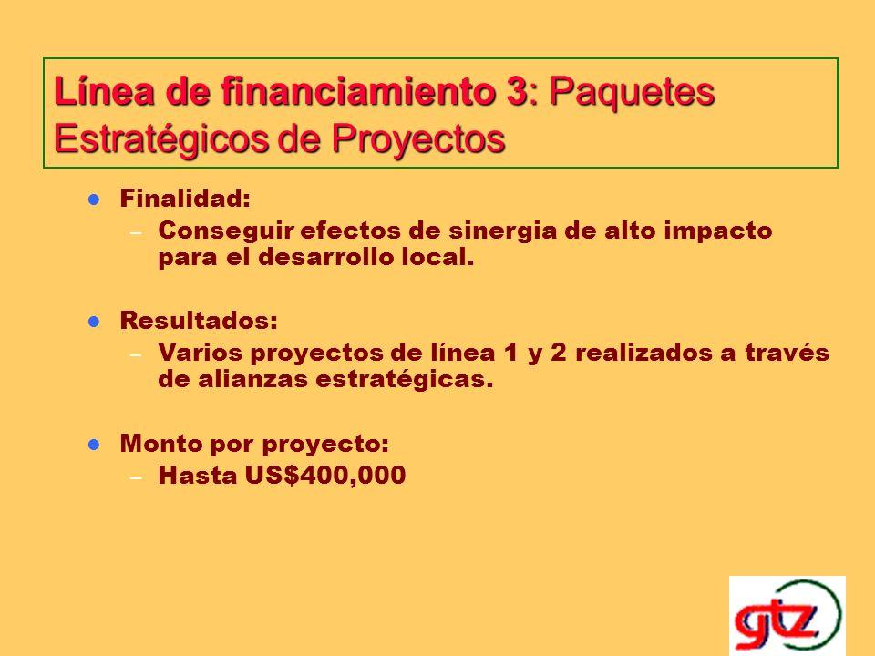 Línea de financiamiento 2: Proyectos Específicos Finalidad: – Desarrollar proyectos claves dentro del ámbito local para mejorar las condiciones de vida de la población destinataria.