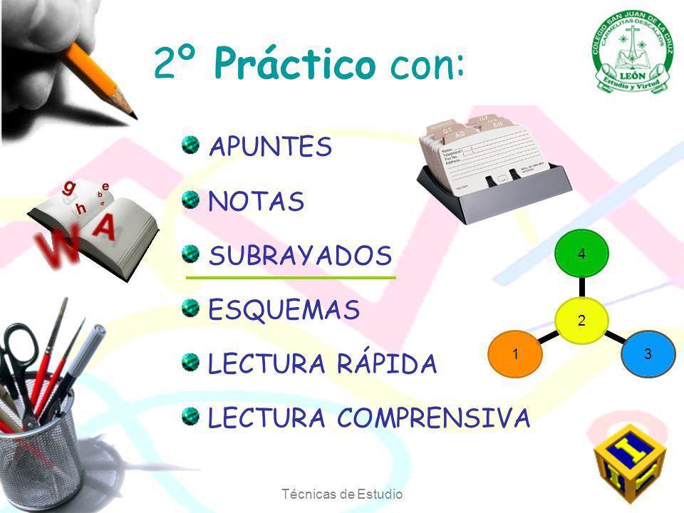 Técnicas de Estudio 2º Práctico con: APUNTES NOTAS SUBRAYADOS ESQUEMAS LECTURA RÁPIDA LECTURA COMPRENSIVA 2431