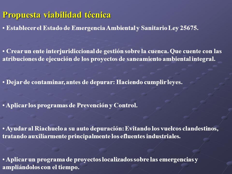 Propuesta viabilidad técnica Establecer el Estado de Emergencia Ambiental y Sanitario Ley 25675. Crear un ente interjuridiccional de gestión sobre la