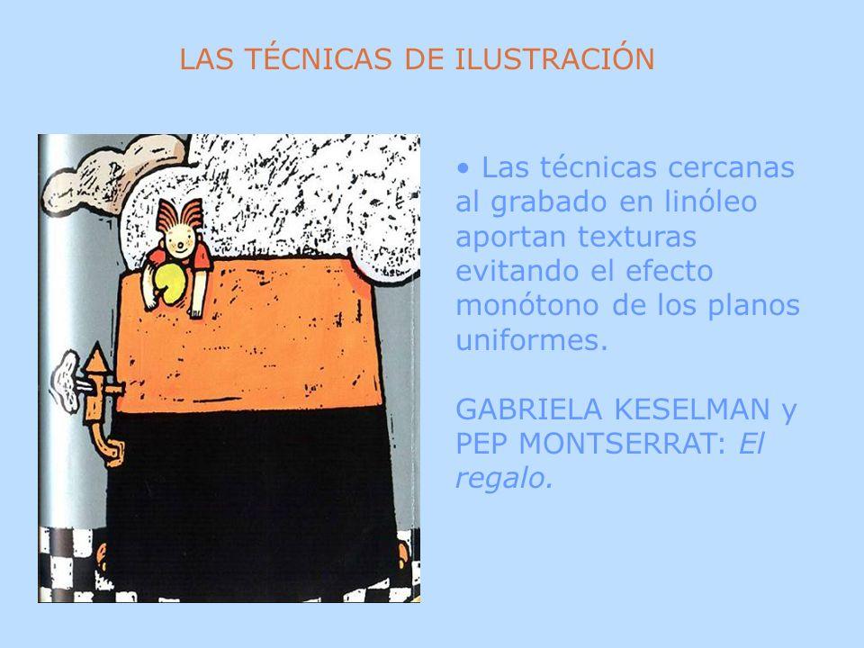 Las técnicas cercanas al grabado en linóleo aportan texturas evitando el efecto monótono de los planos uniformes. GABRIELA KESELMAN y PEP MONTSERRAT: