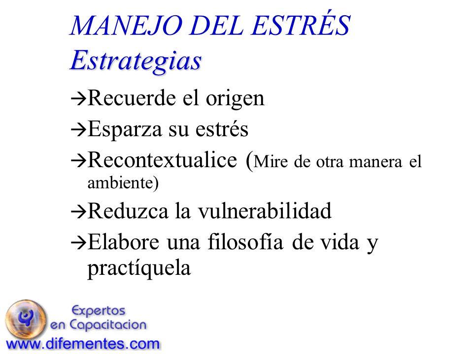 Estrategias MANEJO DEL ESTRÉS Estrategias Recuerde el origen Esparza su estrés Recontextualice ( Mire de otra manera el ambiente) Reduzca la vulnerabi