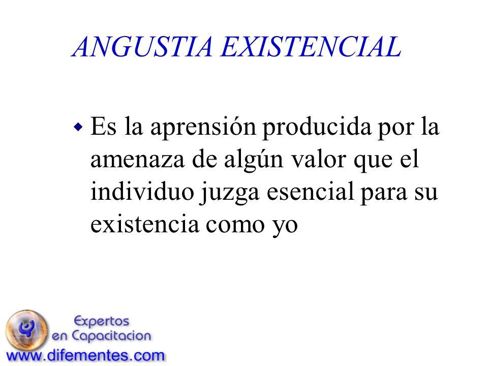 ANGUSTIA EXISTENCIAL w Es la aprensión producida por la amenaza de algún valor que el individuo juzga esencial para su existencia como yo