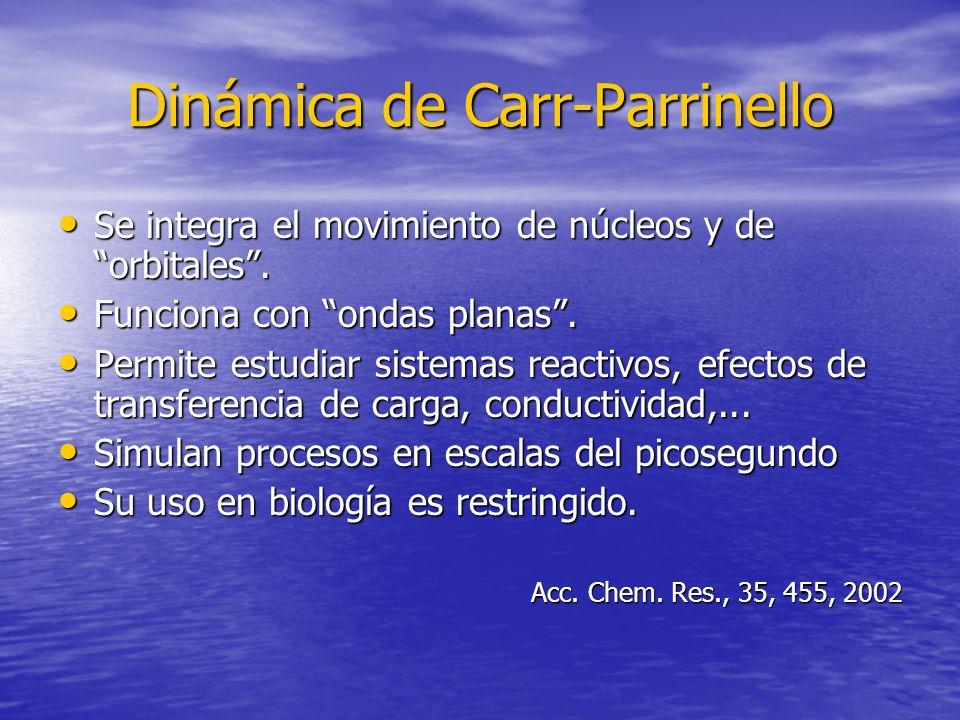 Dinámica de Carr-Parrinello Se integra el movimiento de núcleos y de orbitales. Se integra el movimiento de núcleos y de orbitales. Funciona con ondas