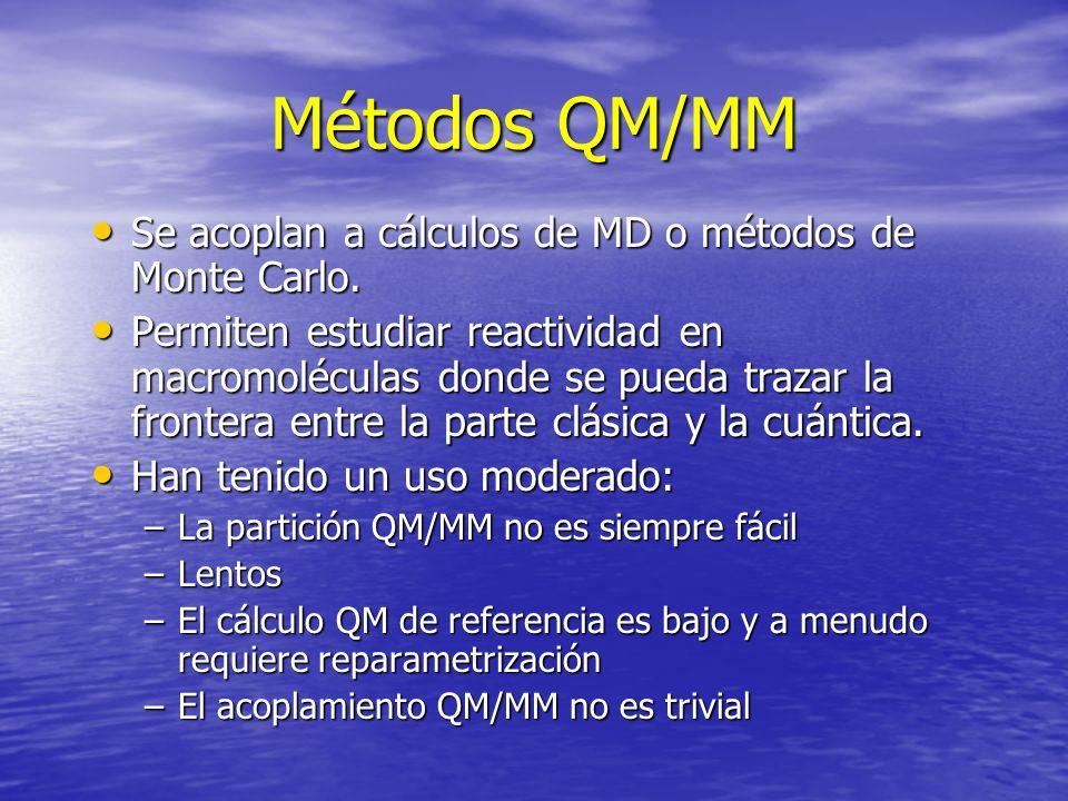 Métodos QM/MM Se acoplan a cálculos de MD o métodos de Monte Carlo. Se acoplan a cálculos de MD o métodos de Monte Carlo. Permiten estudiar reactivida
