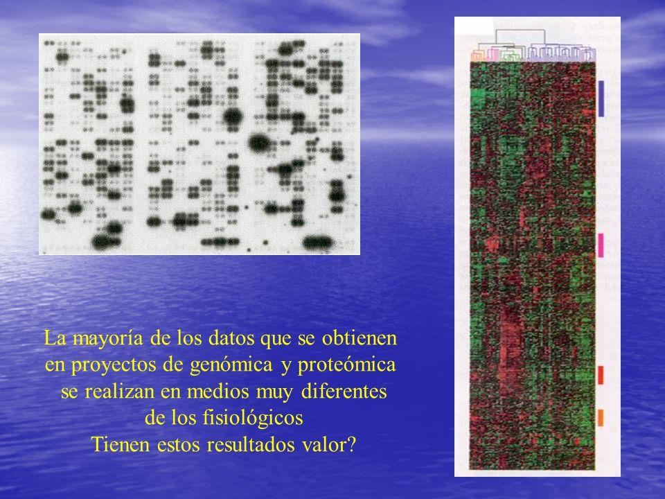 La mayoría de los datos que se obtienen en proyectos de genómica y proteómica se realizan en medios muy diferentes de los fisiológicos Tienen estos re