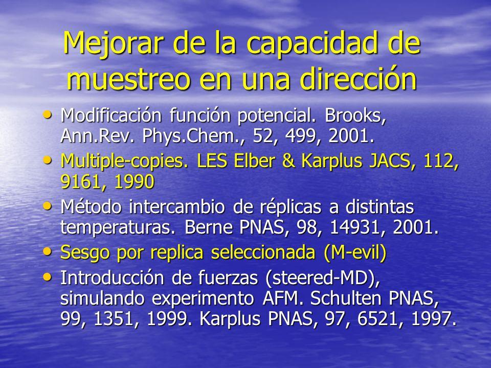 Mejorar de la capacidad de muestreo en una dirección Modificación función potencial. Brooks, Ann.Rev. Phys.Chem., 52, 499, 2001. Modificación función