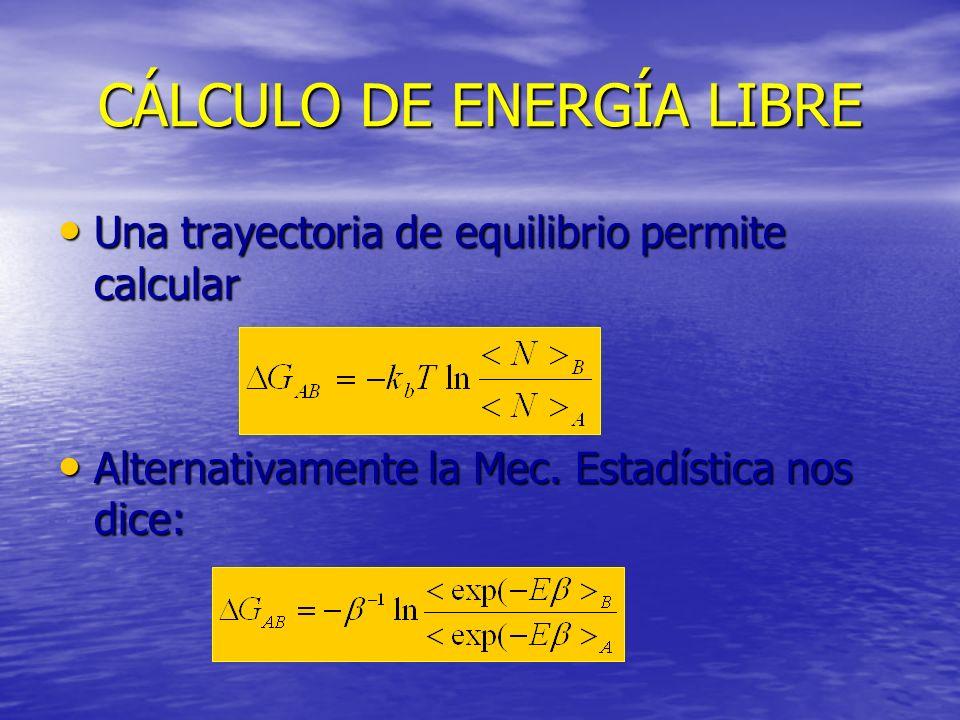 CÁLCULO DE ENERGÍA LIBRE Una trayectoria de equilibrio permite calcular Una trayectoria de equilibrio permite calcular Alternativamente la Mec. Estadí