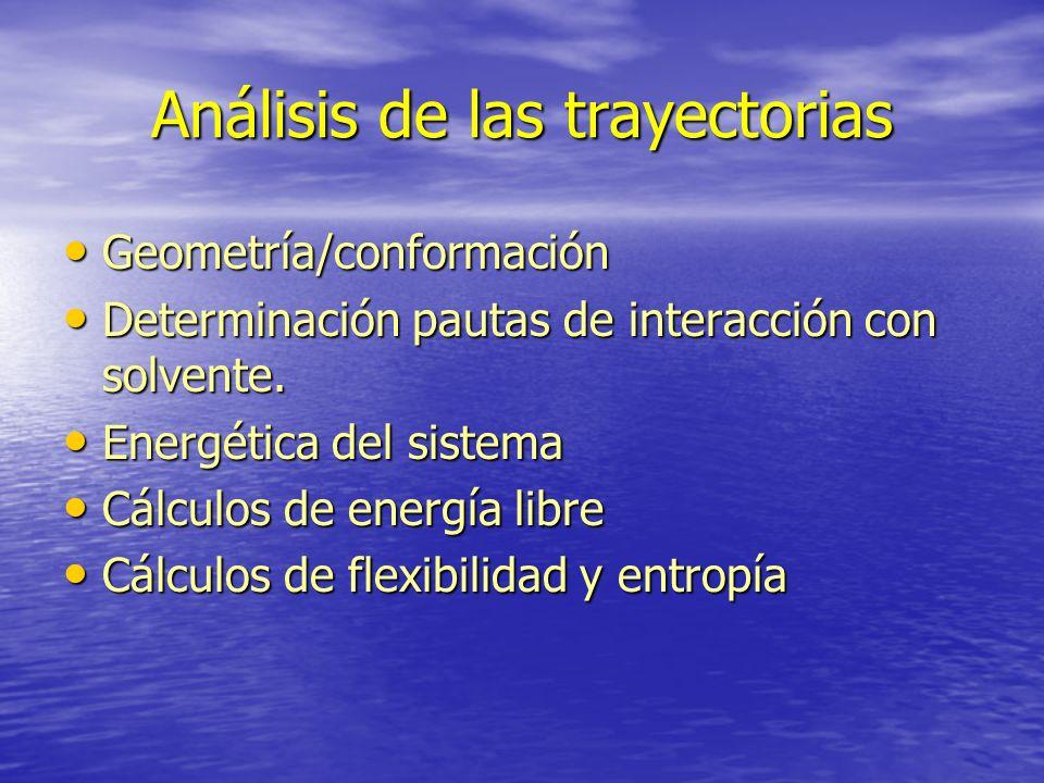 Análisis de las trayectorias Geometría/conformación Geometría/conformación Determinación pautas de interacción con solvente. Determinación pautas de i