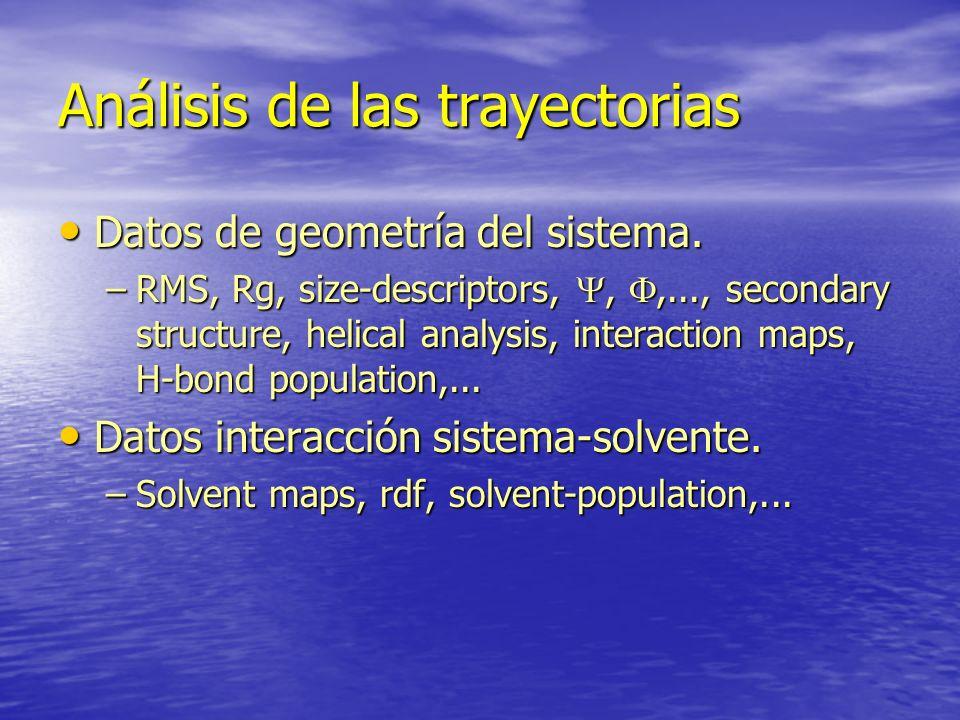 Análisis de las trayectorias Datos de geometría del sistema. Datos de geometría del sistema. –RMS, Rg, size-descriptors,,,..., secondary structure, he