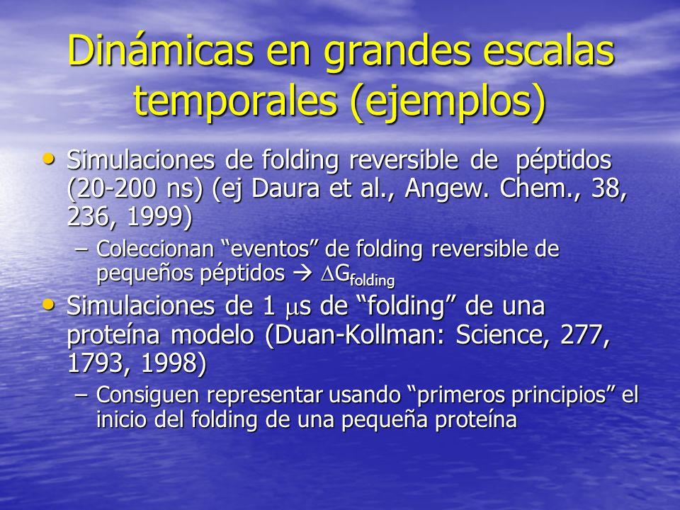 Dinámicas en grandes escalas temporales (ejemplos) Simulaciones de folding reversible de péptidos (20-200 ns) (ej Daura et al., Angew. Chem., 38, 236,
