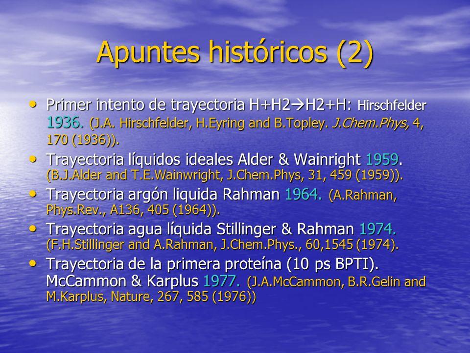 Apuntes históricos (2) Primer intento de trayectoria H+H2 H2+H: Hirschfelder 1936. (J.A. Hirschfelder, H.Eyring and B.Topley. J.Chem.Phys, 4, 170 (193