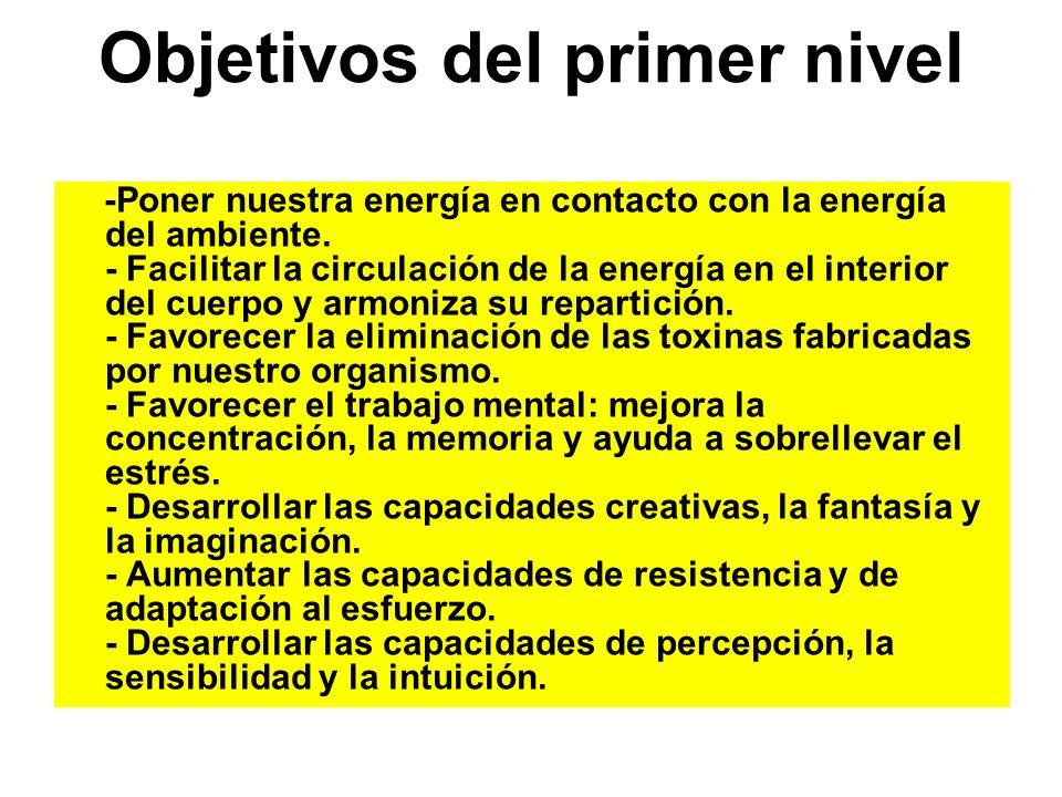 Objetivos del primer nivel -Poner nuestra energía en contacto con la energía del ambiente. - Facilitar la circulación de la energía en el interior del