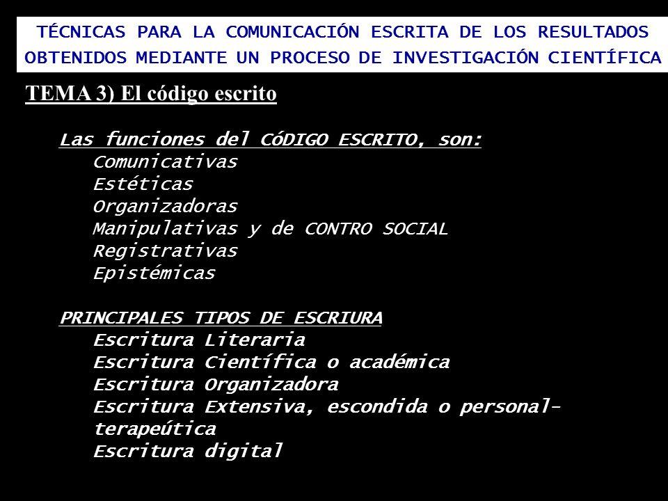 TÉCNICAS PARA LA COMUNICACIÓN ESCRITA DE LOS RESULTADOS OBTENIDOS MEDIANTE UN PROCESO DE INVESTIGACIÓN CIENTÍFICA TEMA 3) El código escrito Las funcio