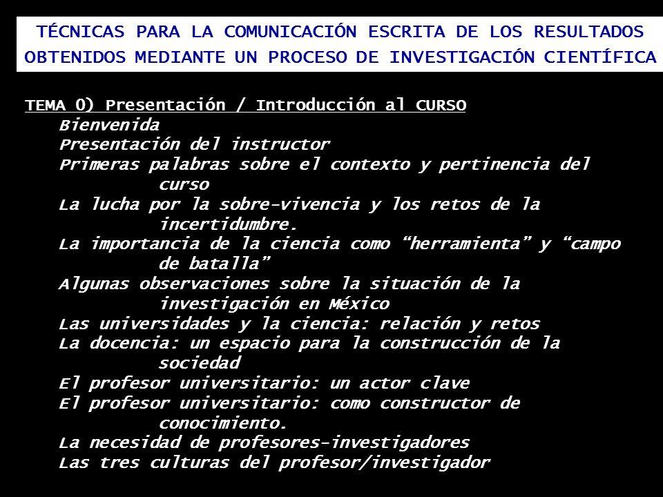 TÉCNICAS PARA LA COMUNICACIÓN ESCRITA DE LOS RESULTADOS OBTENIDOS MEDIANTE UN PROCESO DE INVESTIGACIÓN CIENTÍFICA TEMA 0) Presentación / Introducción
