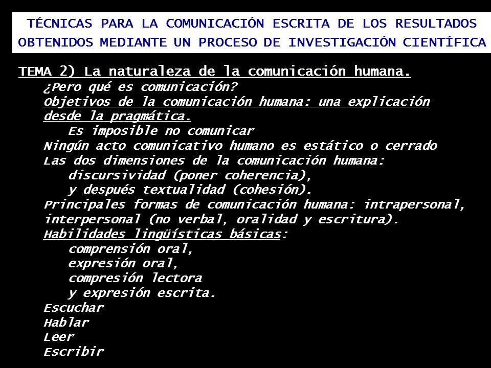 TÉCNICAS PARA LA COMUNICACIÓN ESCRITA DE LOS RESULTADOS OBTENIDOS MEDIANTE UN PROCESO DE INVESTIGACIÓN CIENTÍFICA TEMA 2) La naturaleza de la comunica