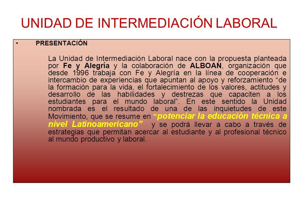 UNIDAD DE INTERMEDIACIÓN LABORAL PRESENTACIÓN La Unidad de Intermediación Laboral nace con la propuesta planteada por Fe y Alegría y la colaboración d