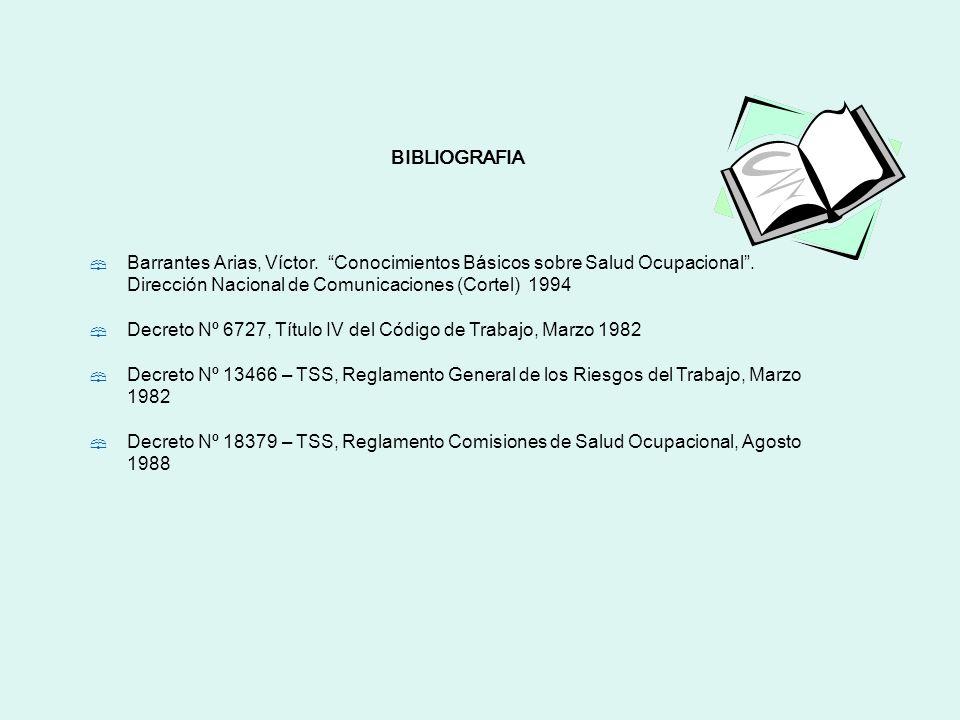 BIBLIOGRAFIA Barrantes Arias, Víctor. Conocimientos Básicos sobre Salud Ocupacional. Dirección Nacional de Comunicaciones (Cortel) 1994 Decreto Nº 672