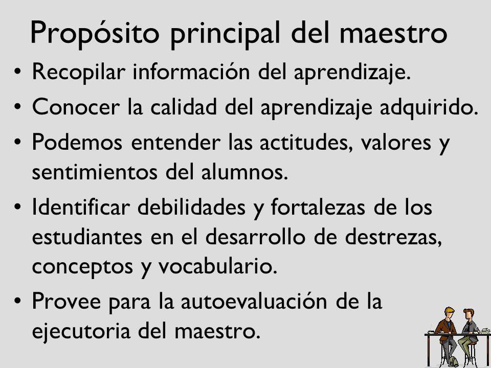 Propósito principal del maestro Recopilar información del aprendizaje. Conocer la calidad del aprendizaje adquirido. Podemos entender las actitudes, v