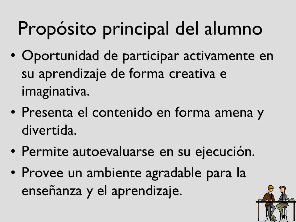 Propósito principal del alumno Oportunidad de participar activamente en su aprendizaje de forma creativa e imaginativa. Presenta el contenido en forma