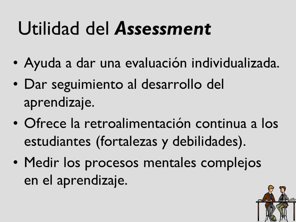 Utilidad del Assessment Ayuda a dar una evaluación individualizada. Dar seguimiento al desarrollo del aprendizaje. Ofrece la retroalimentación continu