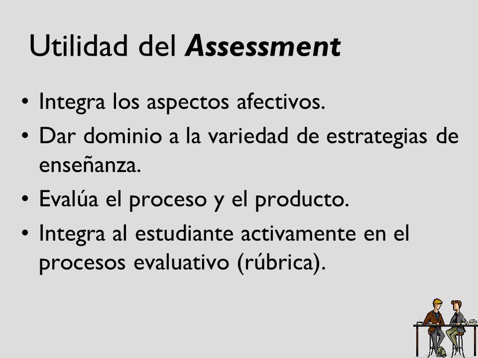 Utilidad del Assessment Integra los aspectos afectivos. Dar dominio a la variedad de estrategias de enseñanza. Evalúa el proceso y el producto. Integr