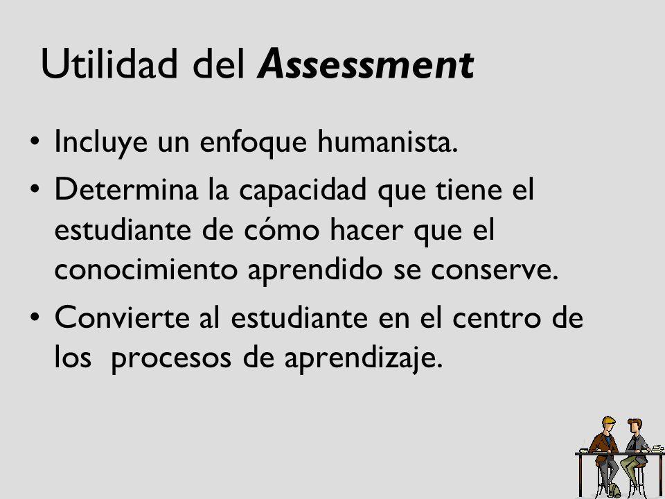 Utilidad del Assessment Incluye un enfoque humanista. Determina la capacidad que tiene el estudiante de cómo hacer que el conocimiento aprendido se co